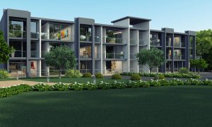 Computer rendering of apartment complex