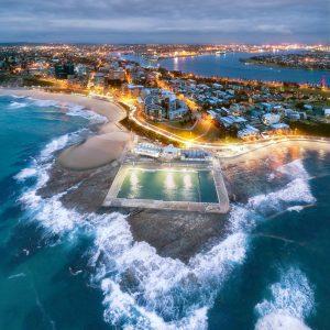 Newcastle Ocean Baths aerial view